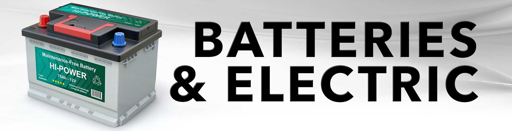 Batteries and Electric maintenance banner image with picture of battery
