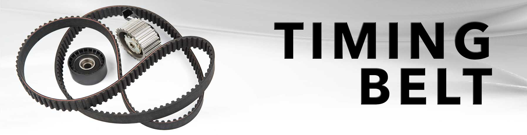 Timing belt repair banner image with picture of a belt and cogs